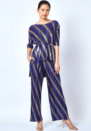 Gold Spray Stripe Set - Midnight Blue & Gold