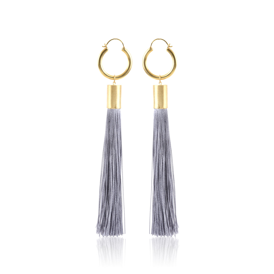 Maleha Tassel Earrings - Grey