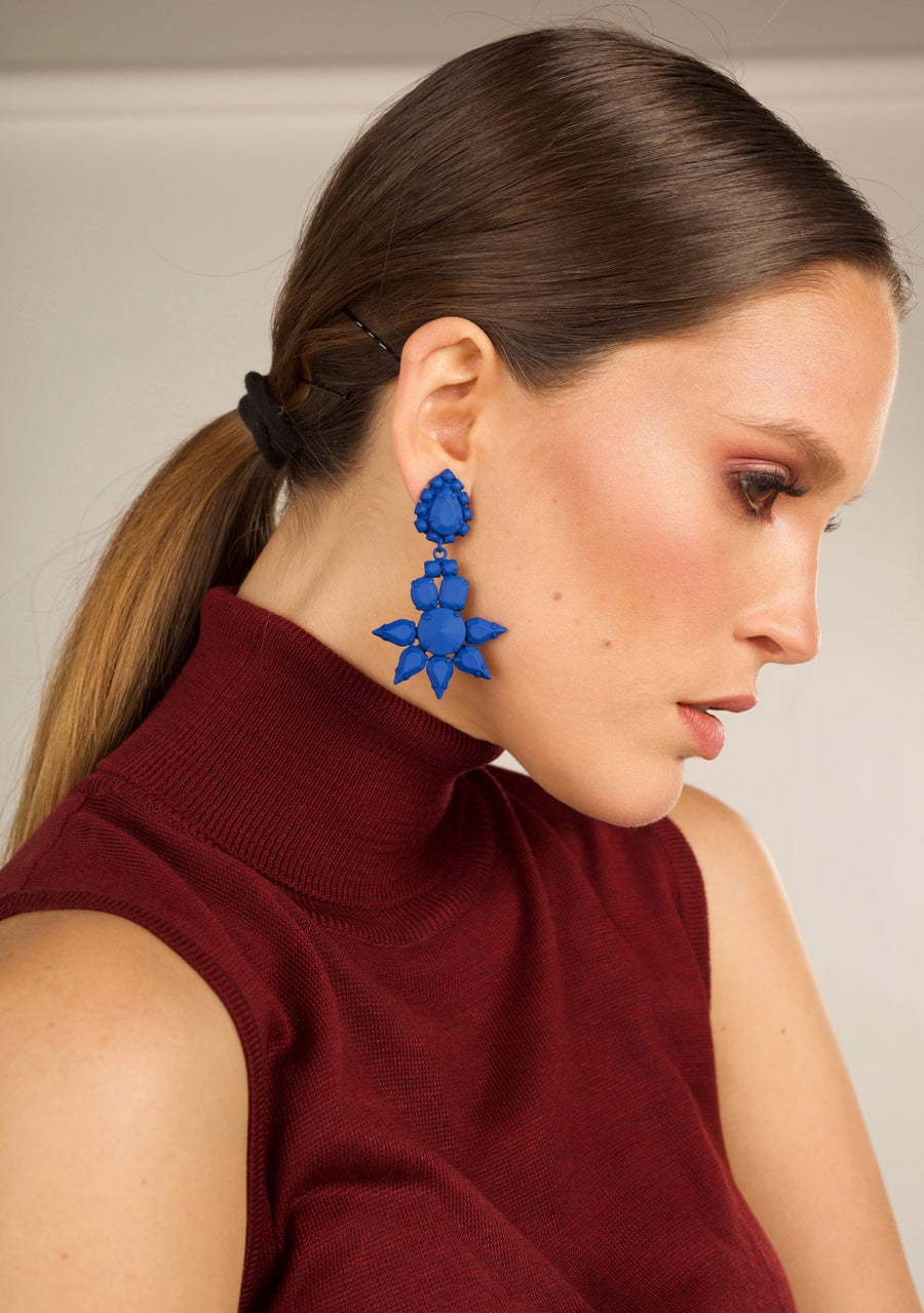 3D Flower Earrings - Cobalt Blue