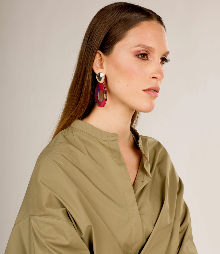Hot Pink Abstract Drop Earrings