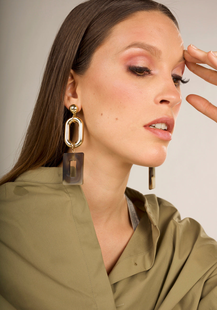 Ina Statement Earrings - Olive