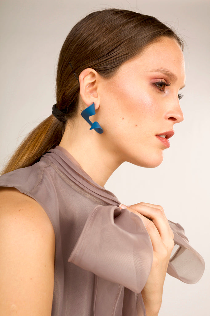 The Iconic Twirled Earrings - Teal Blue