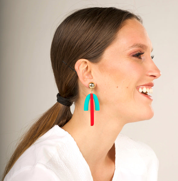 Nove Earrings - Red & Turquoise