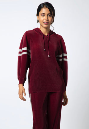 Striped Lounge Co-ord Set - Burgundy