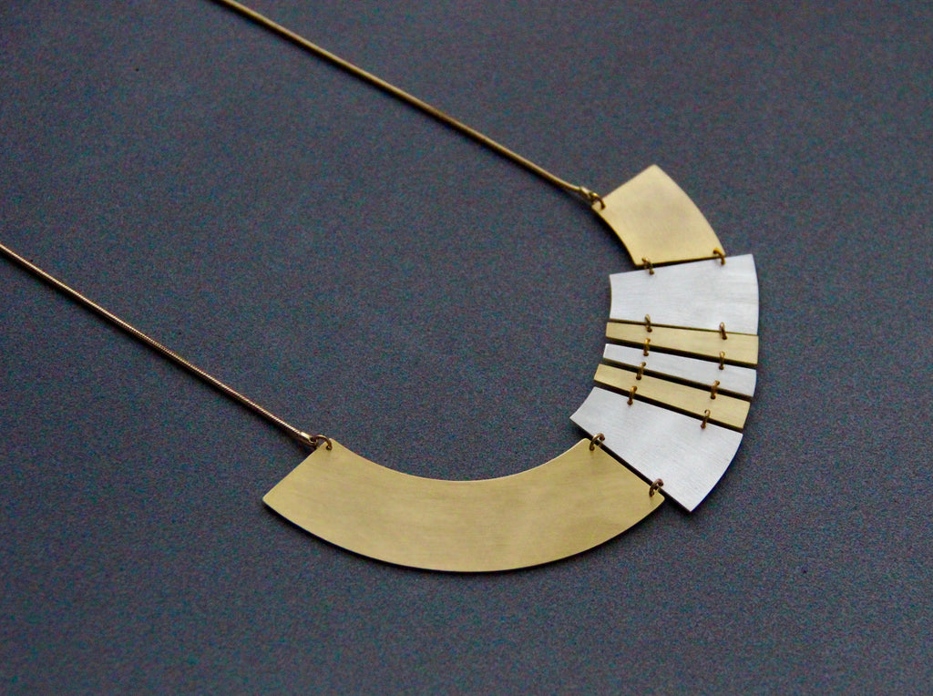 Geometric Shatter Necklace- Gold & Rhodium