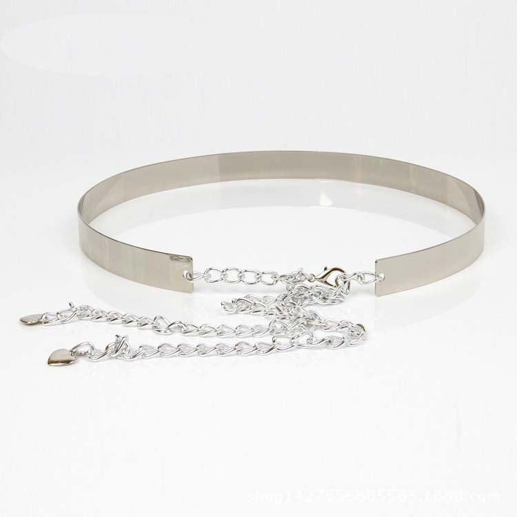 Metal Belt with chain closure - Silver - 3 cm