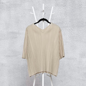 V Neck Short Sleeve Top - Sand