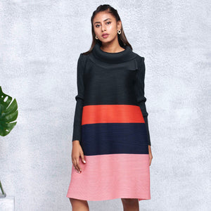 Colourblock Turtleneck Dress - Black