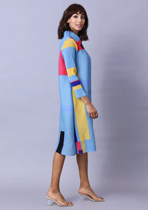 Rory Jacket Dress - Blue Geometry