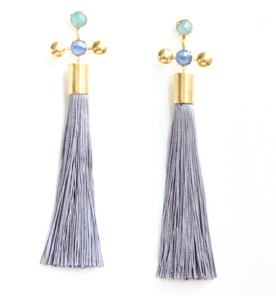 Nina Stone Tassel Earrings - Grey