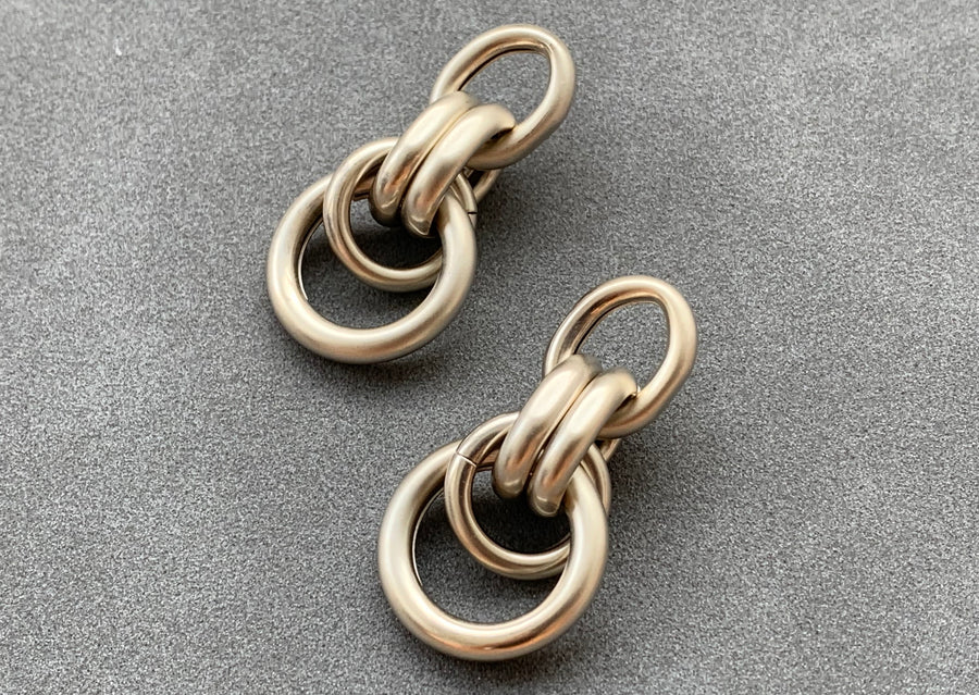 Everyday Circle Link Earrings - Champagne Gold