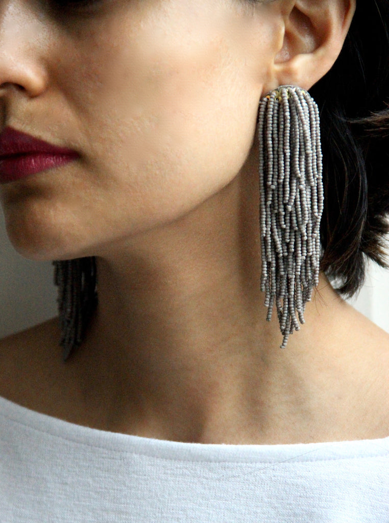 Tara Tassel Earrings - Grey