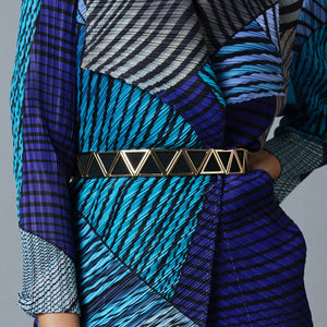 Elastic Belt with Metal Chevron Overlay - Gold