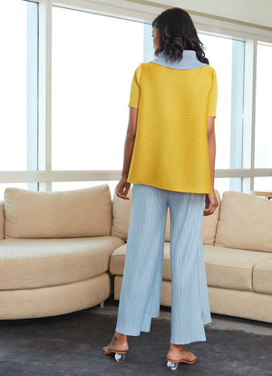 Dual Colour Turtleneck Top - Yellow & Pale Blue