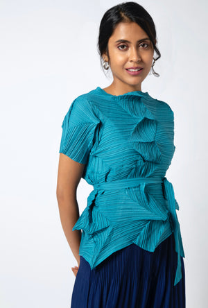 3D Short Sleeve Top - Turquoise Blue