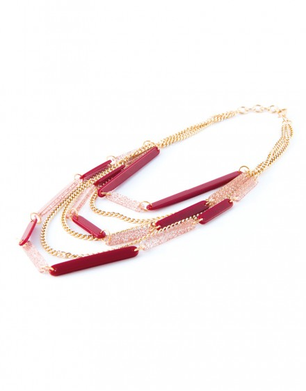 Multistring Pink and Maroon Necklace