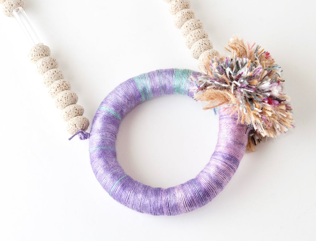 Of Beads & Fringes Necklace - Purple