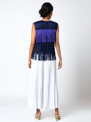 Gisa Fringe Top - Purple & Navy