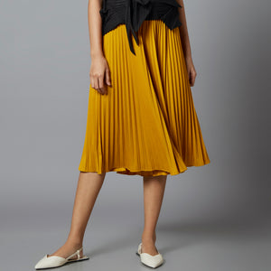 Amelia Wide Pleats Flair Cullotes - Mustard Yellow