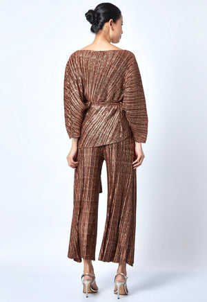Cora Metallic Co-Ord Set - Bronze Gold