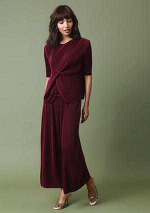 Monica Short Sleeve Set - Burgundy