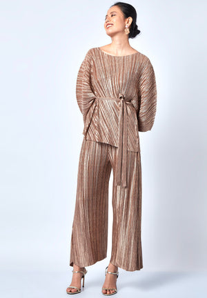 Cora Metallic Co-Ord Set - Rose Gold