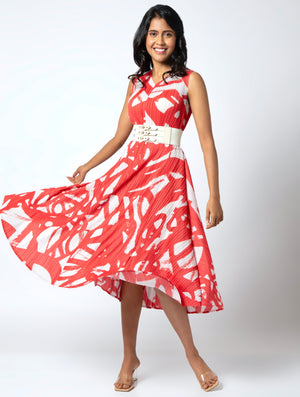Leia Abstract Print Dress - Coral & White