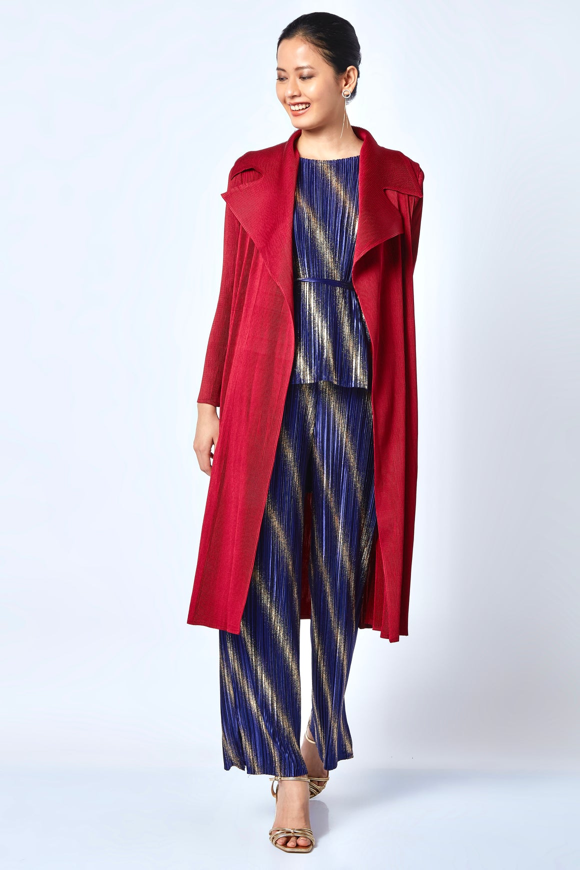 Caroline Wrap Overlay/Dress - Dark Red