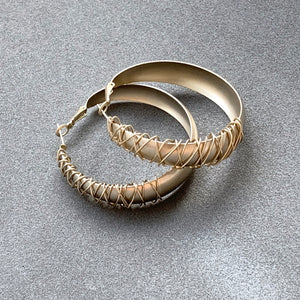 Wire Textured Hoops Earrings - Champagne Gold