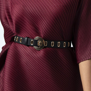 Eyelet Clad Belt - Black & Gold