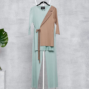 Wrap Blazer Co-ord Set - Taupe & Pale Green