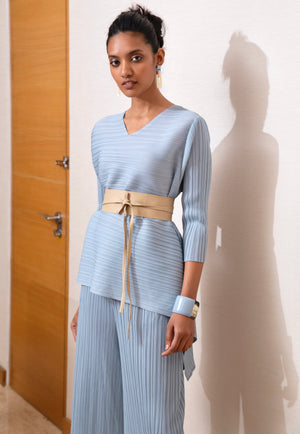 Erin V Neck Waterfall Set - Pale Blue