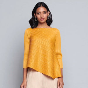 3/4 th Sleeve Asymmetrical Pleated Top - Bright Ochre