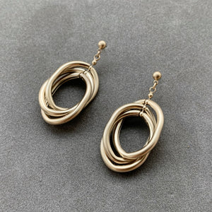 Multiple Suspended Oval Earrings - Champagne Gold