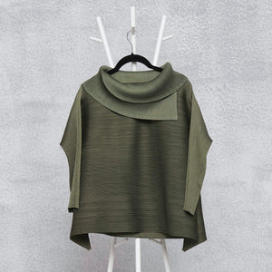 3/4th Sleeve Turtle Neck - Slate Grey Green