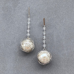 Crystal Pearl Earrings - Matte Silver