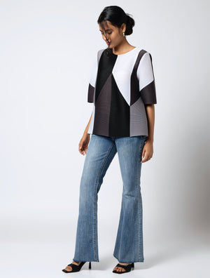Colourblock Short Sleeve Top - Monochrome