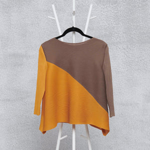 Diagonal Bi-colour Top - Ochre & Taupe