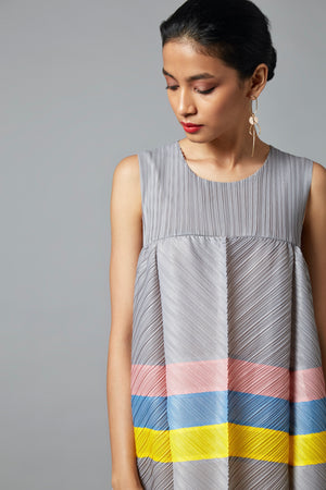 Colourblock Maxi Dress - Grey