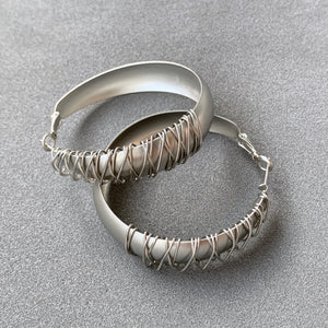 Wire Textured Hoops Earrings - Silver