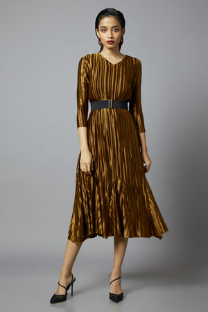 Carmella Dress - Dark Gold