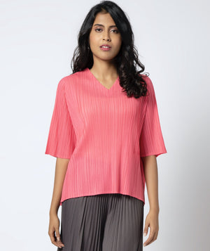 V Neck Short Sleeve - Bright Pink