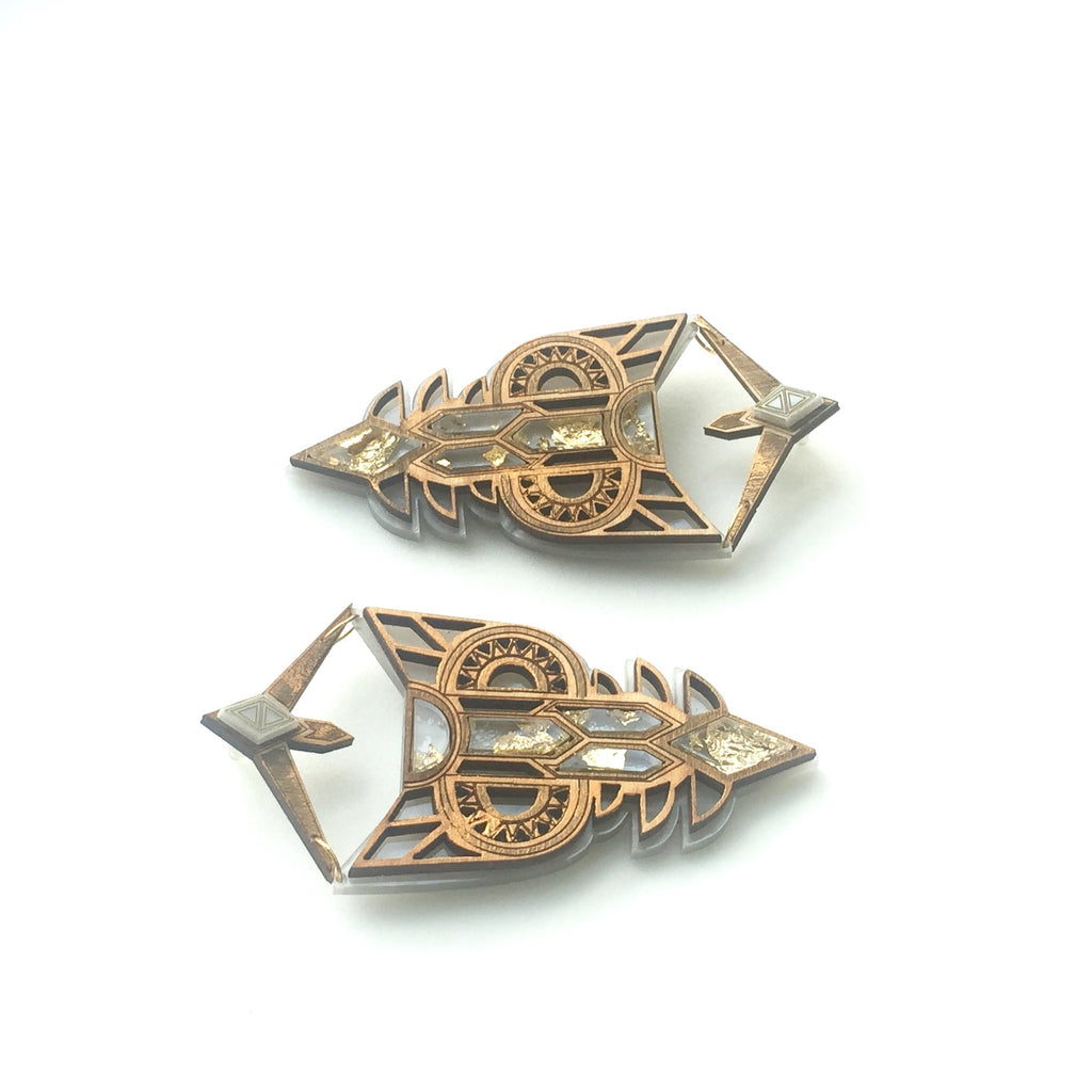 Empress Earrings - Grey & Gold