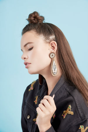 Maharani Earrings - Wood and Gold Mirror