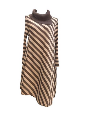 Asymmetrical Taupe & Ivory Turtle Neck Stripe Dress