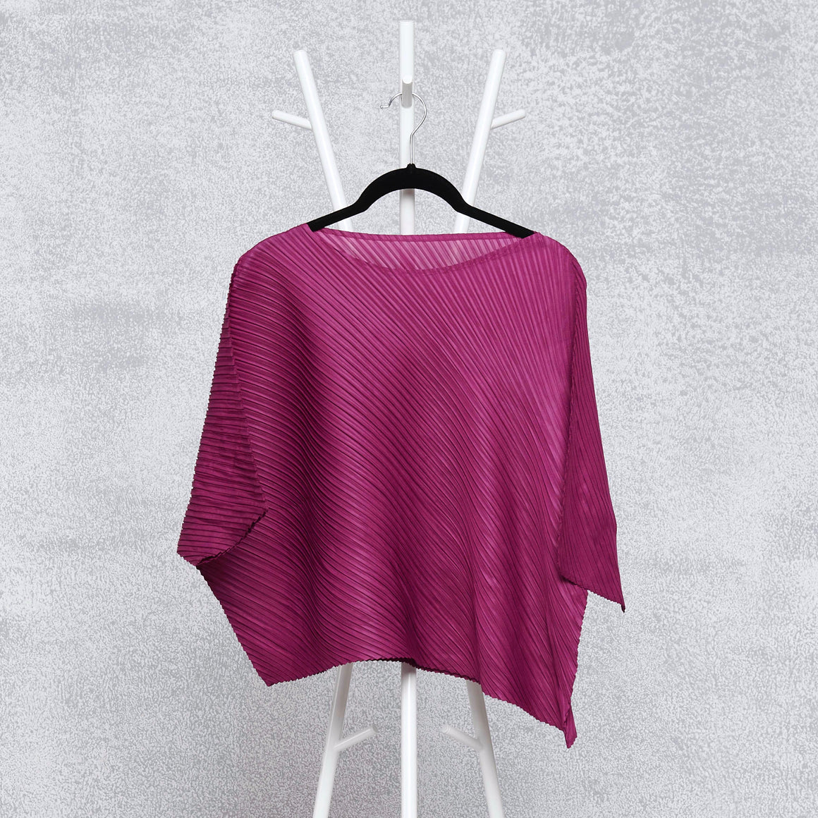 Diagonal Pleat Mid Sleeve Top - Magenta