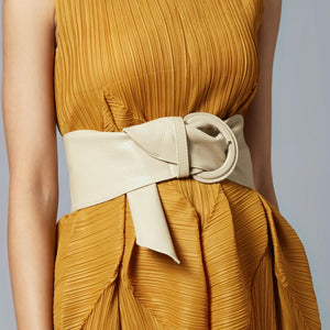 Soft Faux Leather Belt - Nude