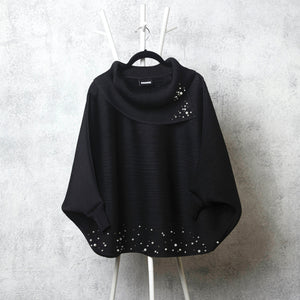 The Batwing Pearled Turtle Neck - Black