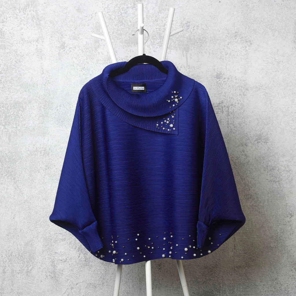 The Batwing Pearled Turtle Neck - Royal Blue
