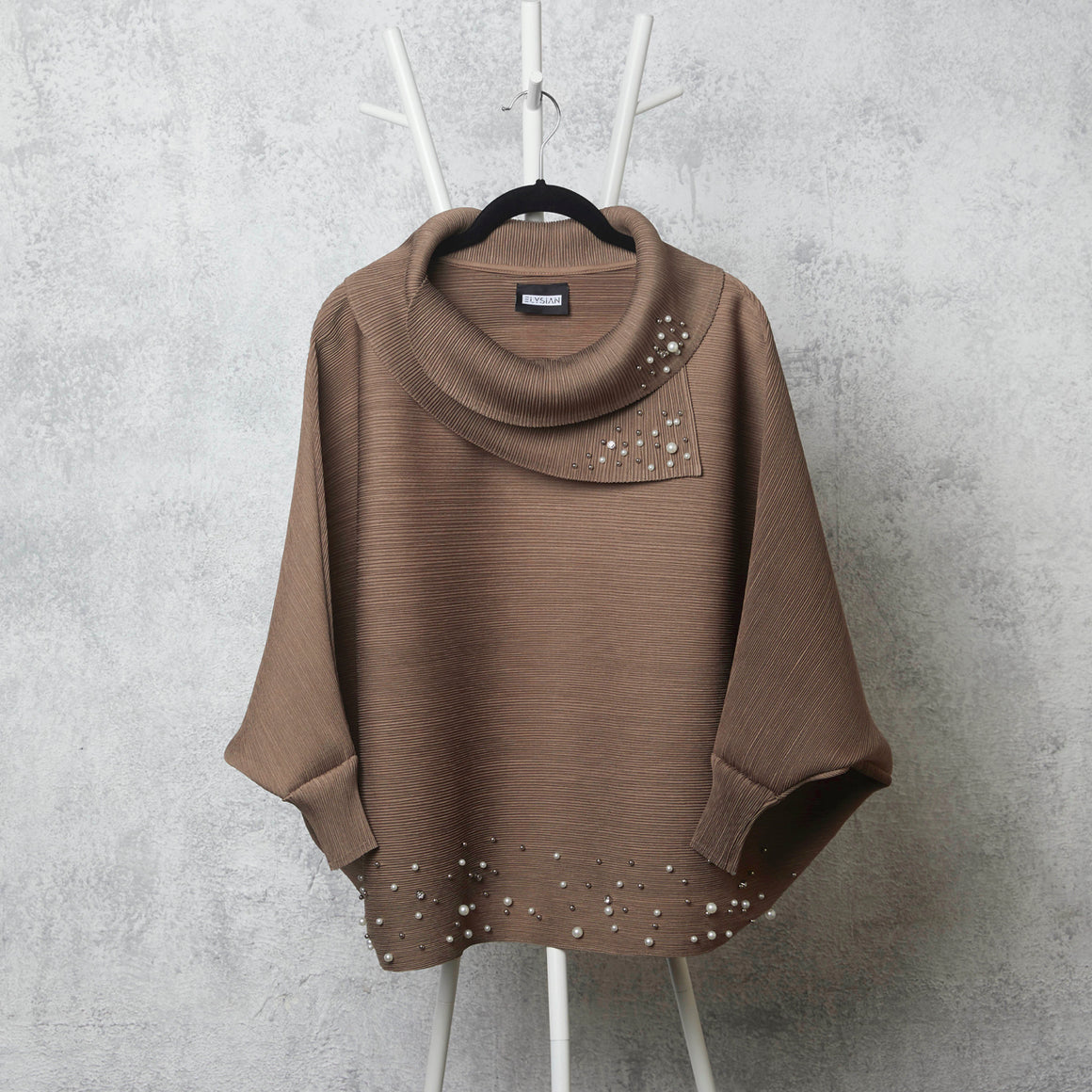 The Batwing Pearled Turtle Neck - Taupe